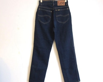 women's vintage lee high waist blue denim jeans 26w
