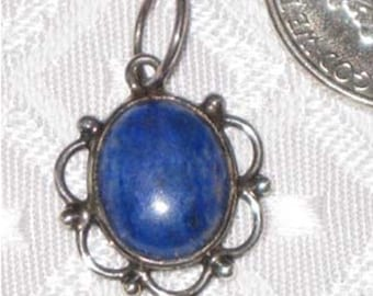 Lapis Charm Pendant in Sterling