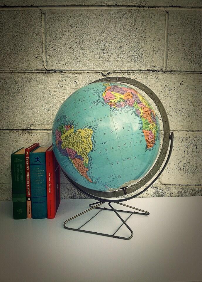 World Globe Mid Century Vintage Desk Globe Replogle 12