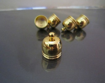 Finding - 4 pcs Gold Dome Round Large Tone Cord End Buckle Cap for Leathers and Making Tassel 17mm x 14mm ( inside 12mm Diameter )
