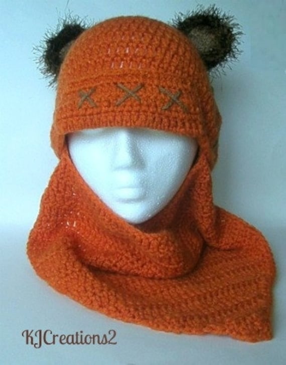 Fun bear hat with detachable scarf-newborn to adult-made to order-Bear cowl hat-Winter hat