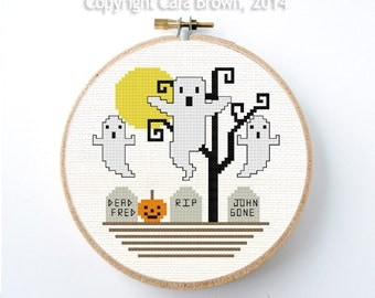 Halloween Cross Stitch Pattern Instant Download Ghost Graveyard pumpkin tree moon needlepoint