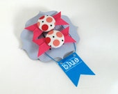 Pink Dots Fabric Button Barrettes, with grosgrain ribbon