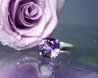 Amethyst Ring, Amethyst Silver Ring, February Birthstone Ring, Purple Amethyst Ring, Natural Amethyst Ring, Purple Gemstone Ring