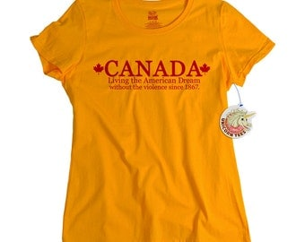 Funny Canada T shirt Living the American dream mens teen youth kids womens shirt canadian tshirt olympic gift mom daughter friend