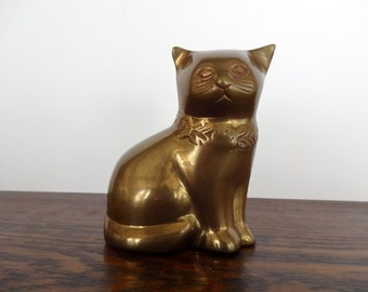 Brass Seated Cat Figurine | Made in India | Meow!