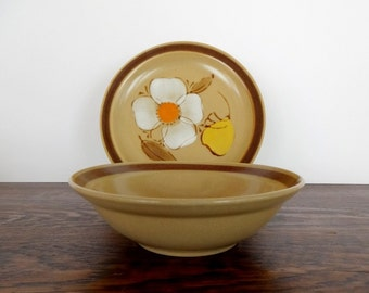 Vintage Hand Painted Hearthside Dogwood Bowl and Salad Plate Set | Made in Japan