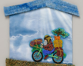 Always Home from  the Meanings of HOME collection of bead and fiber art
