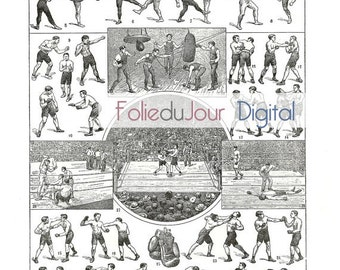 """Boxing Digital file French vintage dictionary plate - 8.5 x 11"""" - Instant Download"""