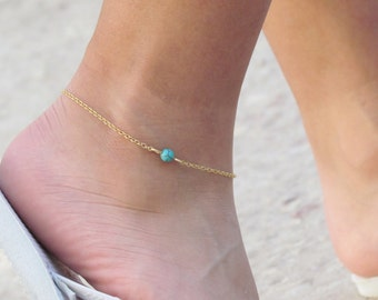 Gold Chain Anklet with Single Turquoise Bead. Delicate Ankle Bracelet Beaded Chain. Single Bead Anklet. Summer Jewelry. Bridesmaid Gifts