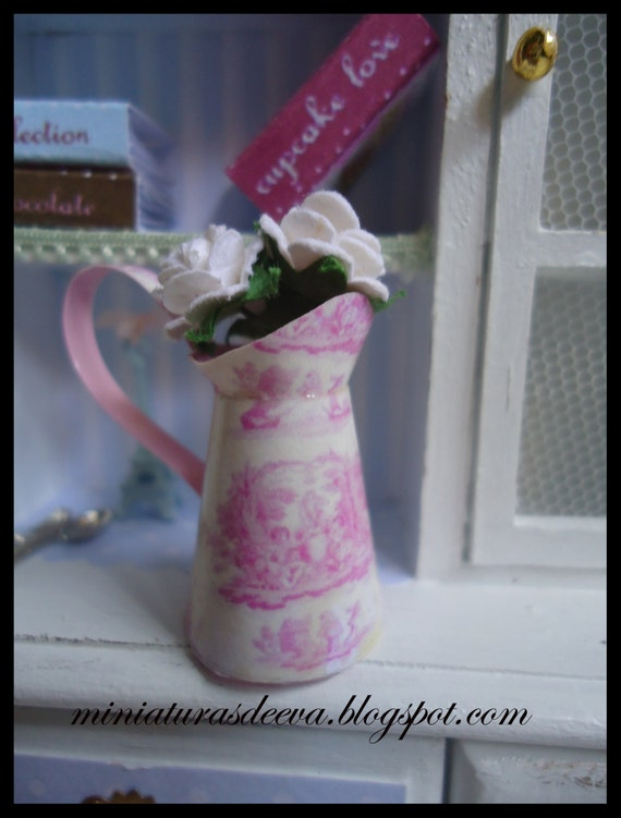 """Pitcher with roses """"Toile de jouy"""". 1/12th scale"""