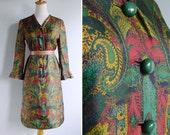 Vintage 70's Sumako Ito Green Paisley Floral Mod Sheath Dress S or M