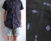 Vintage Mens Aztec Print Geometric Black Cotton Shirt M-L