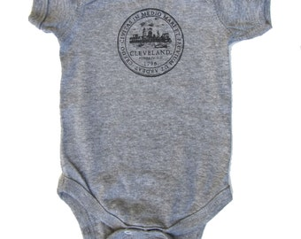 Baby One-Piece - Cleveland City Seal (Heather Grey)