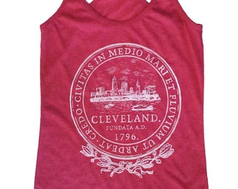 Racerback SUPER SOFT Vintage Feel Tank - Cleveland City Seal in White on Heather Fuchsia