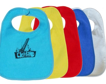 TerryCloth Bib with Cleveland Bridges Design (Teal Blue, Yellow, Red, Blue, or White)