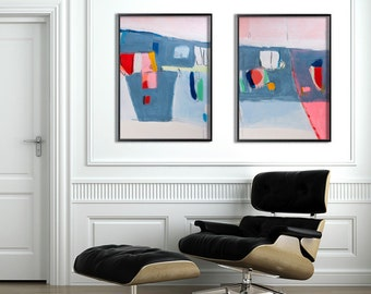 Large abstract painting, Geometric art, Large Wall Art, MADE TO ORDER 28x40, Large Painting, Abstract Art, Blue Painting, Pink