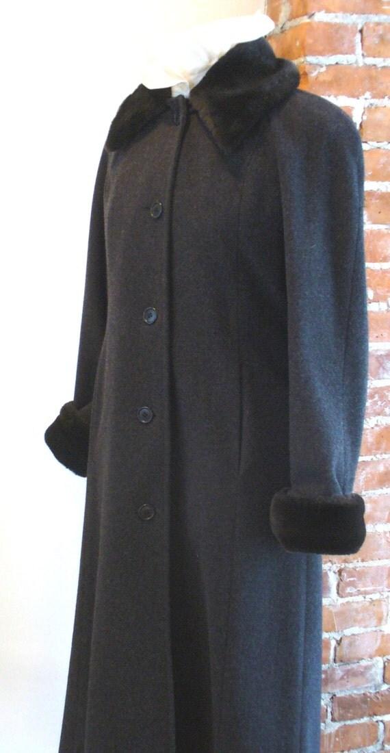 Perry Ellis Grey Wool Full Length Princess Style Coat With Faux Beaver Trim