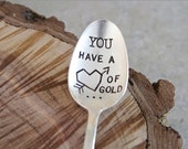 You have a heart of gold - Hand Stamped Vintage Spoon - For Such A TIme Designs - Coffee Lover Valentines