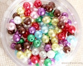 4mm Glass Pearl Beads - 200pcs Small Size Assorted Colors
