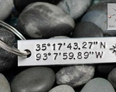 Custom Handstamped Keychain - Latitude and Longitude Key Chain - Personalized Keychain -  GPS - Valentine's Day Gift