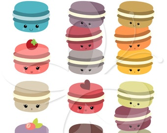 Kawaii Macaroon Clip Art Clipart Set - Personal and Commercial Use