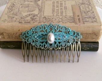Blue Hair Comb, Pearl, Bridal Hair Adornment, Turquoise Wedding, Hair Pin, Something Blue, Teal Bridesmaids Accessories Patina Alice Blue