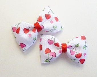 red white and pink cherry tuxedo bows--2.5 inch preppy hair accessories for baby toddler and ig girls valentines day gift ideas