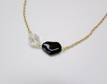 Black and Crystal Bead Necklace in Gold