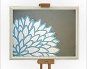Light Blue & Grey Flower Art on 8x10 Inch Canvas