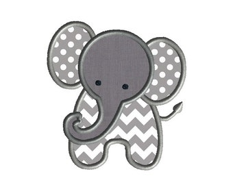 Little Elephant Applique Machine Embroidery Design-INSTANT DOWNLOAD