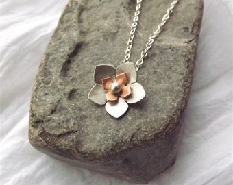 On Sale! Flower Charm Pendant - Mixed Metal Flower Handcrafted in Silver, Copper or Brass - Gift for Her