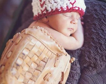 Newborn Baseball Beanie, photo prop, baby baseball hat, sports hat, baseball baby, baseball costume, softball hat