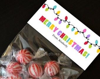Personalized Christmas Lights Treat Bag Topper - DIY Printable Digital File