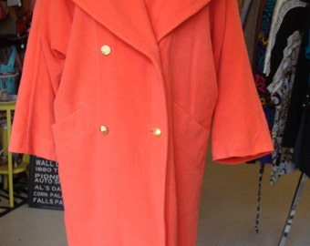 VINTAGE 1980's LAUREL COAT bright orange long wool melton S M