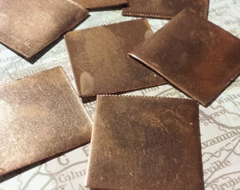 Handmade 1 Inch Square Blanks from Reclaimed Copper 10 pcs