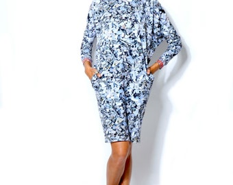 Winter SALE -20%  Kimono dress with crushed mirror print, made from organic cotton