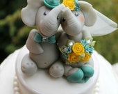 Elephant in love wedding cake topper, personalized custom bride and groom