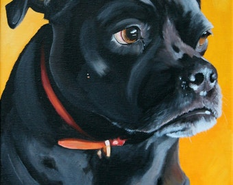 "Dog portrait hand painted on a 10""x14"" canvas from your photo, pet painting"