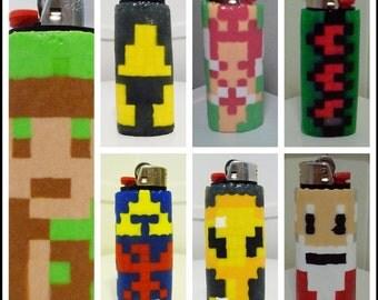 Zelda Heart Container Perler Bead LIGHTER CASE - nintendo - link - master key - tri force - hylian shield