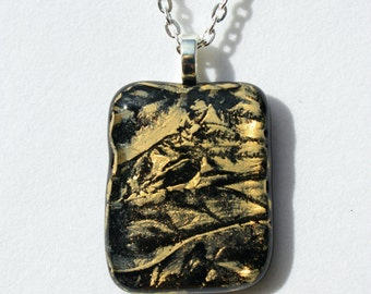 Fused Glass Pendant - Gold and Black Royal Treasure Glass, Fused Glass Jewelry