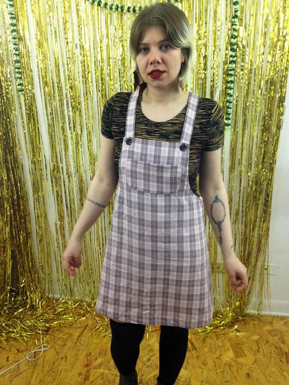 90s Pastel Pink Plaid Overall Jumper Dress / by badatpettingcats