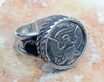 Coin Ring in Sterling Silver Handmade