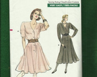 Vintage 1988 Vogue 7118 Front Button Flared Dresses with Strong Shoulders Sizes 18-20-22