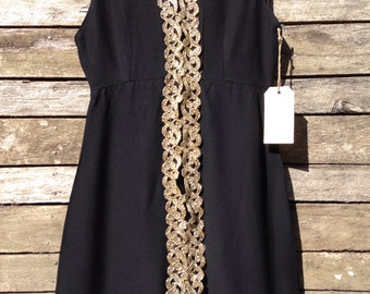 1960's Black with Gold Lace Grecian Mini Dress