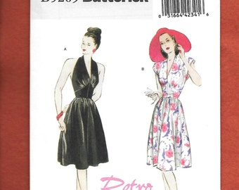 Butterick 5209 Retro Reproduction Of A 1947 Dress With Halter Or Cap Sleeves And Gathered Skirt, Sizes 14,16,18, 20, UNCUT/ NEW