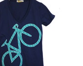 Womens Bicycle applique Tshirt - organic cotton v-neck - midnight blue / teal