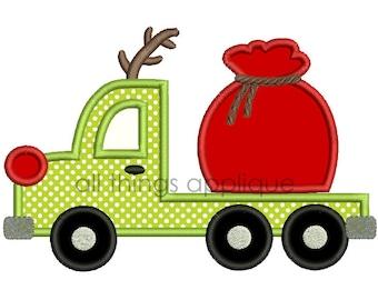 Reindeer Flatbed Truck with Santa Bag Applique - Christmas Applique Design - 3 Sizes - INSTANT DOWNLOAD