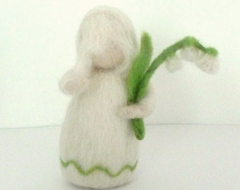 Spring Flower Child - Lily of the Valley - Root Children Waldorf Doll Handmade Needle Felted Wool Easter Decoration