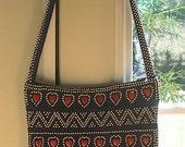 70s Heart Red White Blue Beaded Fringe Purse Shoulder Bag